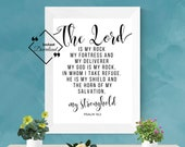 Bible Quote Wall Art for Décor House. The Lord Is My Rock, Psalm 18:2. Bible Quote Trending Black & White, Instant Downloads, Get Yours Now↓