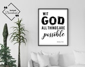 Bible Quotes Art | With God All Things Are Possible, Matthew 19:26 | Bible Verse | Bible Quote Print | Gifts For Men | Instant Downloads ↓↓