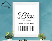 Bless This Home With Love and Laughter | Quotes about home perfect for our first home | Hand lettered quotes, instant download