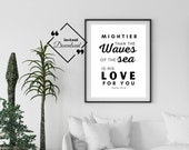 Bible Wall Hanging, Mightier Than The Waves Of The Sea Is His Love For You, Psalm 93:4, Scripture Print, Bible Verse Print, Click For Detail