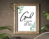Religious Printable Quote Floral, Psalm God Is Within Her, Religious Printable Wall Art For Home Or Office Décor, Download Yours Today! ↓↓