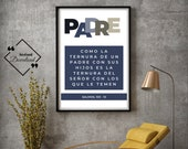 Feliz Dia Del Padre, Father's Day Printable Spanish, Salmos, Instant Download, Father's Day Art, Padre quote Spanish, Latino, Regalo Papa