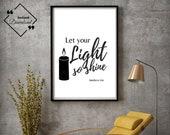 Bible Verse Sign | Bible Printable | Faith Inspirational | Let Your Light So Shine | Matthew 5:16 | Office Décor  | Instant Downloads ↓↓↓