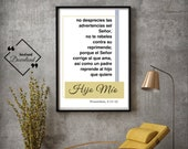 Spanish Gift Father's, Hijo Mío, Proverbios, 3 11-12, Bible Verse Art, Spanish Printable, Spanish Art, Bible Verse Sign, Instant Downloads↓↓