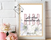 Mothers Day Spanish Bible Verse Print, Efesios 2:10. Spanish Wall Art last minute gift for Madre o Abuela. Click to Download↓↓↓