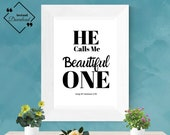 Beautiful Bedroom Decor: He Calls Me Beautiful One, Song Of Solomon 2_10 | Bible quotes wall art | guest room décor| Instant downloads ↓↓↓