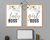 Office Set Of 2 Wall Prints Lady Boss Girl Boss, Typography Wall Art for your affordable Office Décor. Instant Download, Get Yours Today↓↓↓