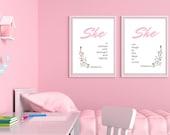 PRINTABLE Art Baby girl Set of 2 Prints | Girl's Room Décor | Nursery Set of 2 | Nursery Wall Art | Nursery Décor Pink | Instant Downloads ↓