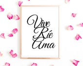 Inspirational Quotes in Spanish for Office Printable: Vive Ríe Ama Printable Art With Encouraging Quotes. Instant Download, Get Yours Today↓