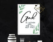 Religious Printable Wall Art, Psalm 46 5. God Is Within Her, Bible Quote Floral Printable For Home Or Office Décor, Download Yours Today! ↓↓