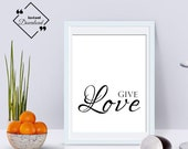 Valentine's Bedroom Décor Couple, Give Love. Love Printable Wall Art Valentine's Décor Digital Print. Click to Download, Get Yours Now ↓↓↓