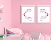 Bible Verse Wall Art Set of 2 Prints | Girl's Room Décor | Nursery Set of 2 | Nursery Wall Art | Nursery Décor Pink | Instant Downloads ↓↓↓