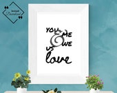 "Love Couple Wall Art: ""You and Me, Us and We, love"" 