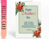 Happy Mother's Day Card with Spanish Bible Verse for your Mother. Pretty red flower and Greens to Download and Print Yourself Today!!!