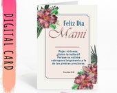Spanish Mother's Day Card PRINTABLE for Mami with bible verse and red flowers. Feliz día de las madres. Download and Print Yourself Today!