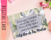 """Feliz Día de las Madres, """"Happy Mother's Day"""" Card, with flower and Spanish phrase to Print Yourself. Regalo Mamá Download Yours Today↓↓↓"""
