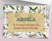 """Abuela """"Mothers Day"""" Spanish Card With Bible Verse Proverbs 31. Printable Greeting Card Gift For Abuela, Download Print Yours Self Today↓↓↓"""