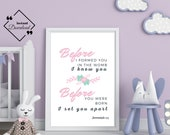 Floral Nursery | Before I formed you in the womb I knew you | Jeremiah 1:5 | Nursery Bible Verse | Nursery Scripture | Instant Downloads ↓↓↓
