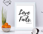 Valentine's Gift Quote Art, Love Never Fails, 1 Corinthians 13:8, Last Minute Valentines Gift Bible Art Click to Download, Get Yours Now ↓↓↓