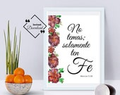 Spanish Bible Print, Marcos 5-36, No temas solamente ten fe, Spanish Wall Art, Spanish Inspiring, Minimalist Art Print, Instant Download ↓↓↓