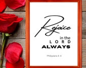 Religious Printable Wall Art, Rejoice in the Lord Always, Philippians Bible Verse Printable for Your Home or Office, Download Yours Today!↓↓