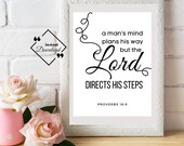 Bible Verse Poster, A Man's Heart Plans His Way, Proverbs 16:9, Bible Quote, Christian Décor, Bible Verse, Scripture Art, Instant Downloads