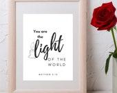 Matthew Bible Verse, You Are The Light Of The World, Matthew 5-14, Inspirational Wall Art, Christian Wall Art, Click For Detail↓↓↓