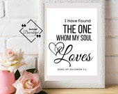 Quotes About Love, I Have Found The One Whom My Soul Loves, Song Of Solomon 3:4, Bible Verse Print, Christian Printable, Click For Detail