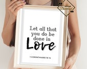 Scripture Quotes Sign, Bible Verse Print, Love Décor Farmhouse, Large Printable Wall Art for Home or Office Décor, Download Yours Today! ↓↓↓