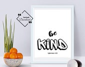 Be Kind Printable Wall Art, Kids Nursery Décor, Ephesians 4:32, Positive Quote, Nursery Bible Boy, Nursery Printable, Instant Download