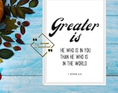Inspiring Quotes Print, Printable Bible Verse, Bible Art Wall décor, Encouraging Quotes for Home or Office Décor, Download Yours Today!↓