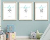 Kid's Bible Verse Wall Art Set of 3 Prints | Boy's Room Décor | Nursery Set of 3 | Nursery Wall Art | Nursery Décor Boy | Instant Downloads↓