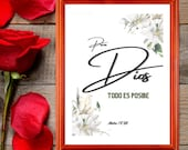 Spanish Bible Verse, Para Dios Todo Es Posible, Mateo, Printable Wall Art for Your Home or Office Décor, Download Yours Today! ↓↓↓
