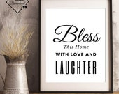 Scripture Art Print | Bless This Home With Love And Laughter | Room Décor | Bedroom Décor Couple | Scripture Art Print | Instant downloads↓↓