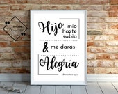Father's Day Printable Spanish, Proverbios, 27 11, Bible Verse Art, Spanish Printable, Spanish Art, Bible Verse Sign, Instant Downloads↓↓