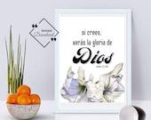 Spanish Print, Juan 11-40, Si crees, verás la gloria de Dios, Spanish Wall Art, Spanish Inspiring, Minimalist Art, Instant Download ↓↓↓
