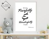Bible Verse Nursery | She is Fearfully & Wonderfully made | Psalm 139_14 | Nursery Wall Art | Nursery Bible Verse | Instant Downloads ↓↓↓