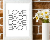 Love Wall Quote, Romantic Wall Art, Romantic Gift For Her, House Warming Gift, Love Print Wall Art, Love Script Sign, Minimalist Quote