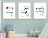 Bible Verse Wall Art Set of 3 Prints | Boy's Room Décor | Nursery Set of 3 | Nursery Wall Art | Nursery Décor Boy | Click to Download ↓↓↓