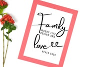 Printable Family Quote Wall Décor Affordable: family where life begins and love never ends, for Your Home or Office. Get Yours Today ↓↓↓