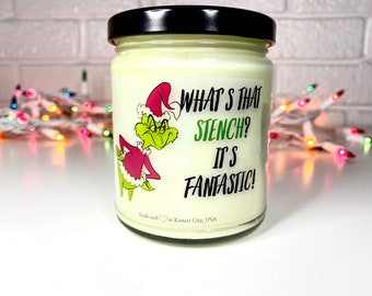 Grinch Christmas candle, gift for her, craft paper amber glass