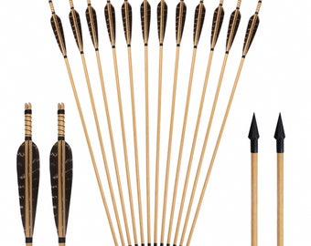 Traditional Wooden Arrows Hunting Archery 20~70lbs Spine Turkey Feathers Arrow For Longbow Compound Bow