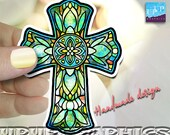 cross magnet, Catholic cross magnet, Christian faith , Crucifix gift, stained glass design magnet, religious magnet
