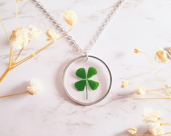 Good Luck Gifts,Four Leaf Clover Locket Necklace,Lucky Charm Locket Necklace,Valentines Gift for Her,Locket Necklaces for Women,Lucky Jewelry Pendant,Gift for Good Luck JV206