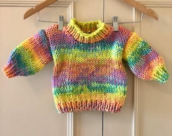 Hand Knitting Pattern - Kids Saturn Jumper - 1 to 8 years