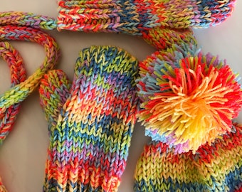 Hand Knitting Pattern - The Mabel Beanie and Maud Mittens Combo