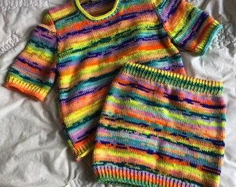 Hand Knitting Patterns - The Bert Skirt and The Ernie Tee Bundle