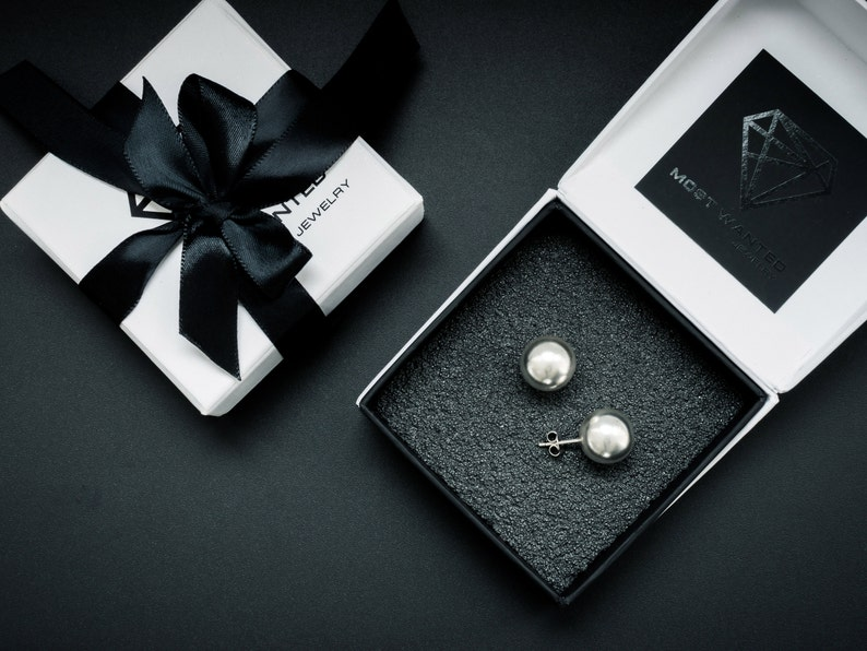 Ball sphere studs matte silver \u2022 push back earrings \u2022 stud earrings \u2022 gift idea for her \u2022 Jewelry set