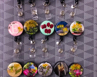 Badge collage of dried flowers