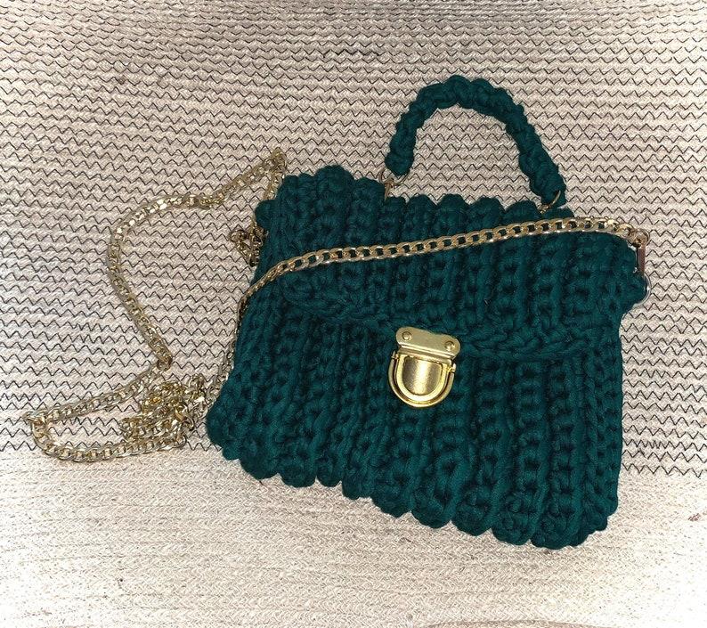 Crossbody Bag Crochet Bag 100% Handmade Bag Cotton Rope image 1